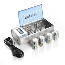 4x 5000mAh C R14 Rechargeable Batteries and LCD C/D/AA/AAA/9V Battery Charge