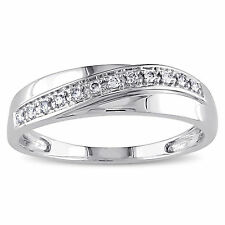 Natural Diamond 0.10 Ct Mens Bands Hallmarked 14K White Gold Wedding Rings