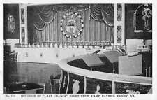 Camp Patrick Henry Virginia Nigh Club Interior Antique Postcard K22404