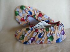 Colorful bowling ball and pins.  Ladies size 7-9. Cotton, lined with vinyl sole