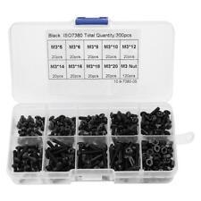 300Pcs M3 Black 10.9 Grade Button Head Hex Socket Screw Bolt Nut Assortment Kit