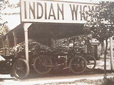 ANTIQUE EARLY INDIAN WIGWAM MOTORCYCLE DEALERSHIP? IN TANK HANDLEBARS RPPC PHOTO