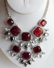 """Sparkling Red Glitter Glass Faceted Rhinestones Chunky Fashion Bib Necklace 17"""""""