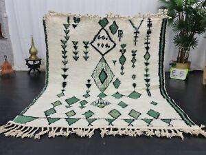 """Moroccan Handmade Beni Ourain Rug 5'3""""x6' Berber Geometric White Green Wool Rug"""