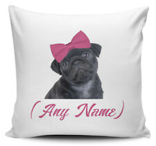 Personalised Any Name Pink Bow Pug (Black) Novelty Gift Cushion Cover