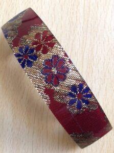 A Deep Red And Gold Thread Fabric Print Barrette Hair Clip