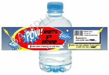 Super Hero Water Bottle Wrappers -Birthday / School Party Favor - Set of 12