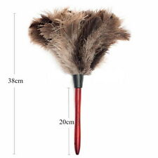 38cm Ostrich Feather Duster Brush Wood Handle Anti-static Natural Grey Fur O