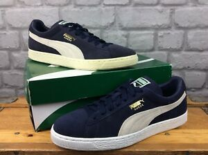 PUMA MENS SUEDE CLASSIC NAVY WHITE TRAINERS RRP £65 VARIOUS SIZES T