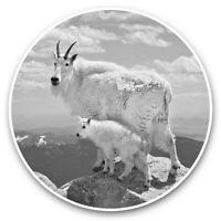 2 x Vinyl Stickers 10cm (bw) - Baby Mountain Goat  #35379