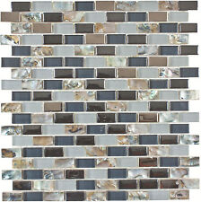 Mother of Pearl, Blue Polished & Frosted Glass Kitchen Bath Mosaic- 11 Sheets