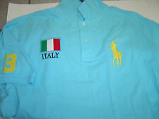 "BIG MENS RALPH LAUREN BLUE ITALY"" W/YELLOW LG PONY S/S POLO SHIRT SIZE 2X $135"