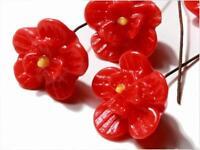 (10) Vintage Czech lampwork glass red flower headpin earring brooch beads 15mm