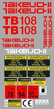 TAKEUCHI TB108 MINI DIGGER COMPLETE DECAL SET WITH SAFETY WARNING SIGNS