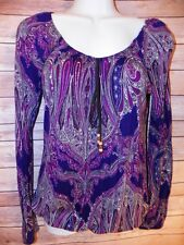 Purple Paisley Shirt Small S Long Sleeve Casual Career Rayon Knit Boho hippie
