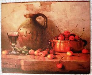 Still Life With Cherries by Challioux - Canvas Style Lithograph