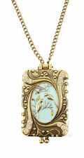 Bronze Love Birds Teal Blue Crystal Locket Costume Jewellery Necklace