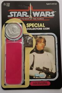 VINTAGE LUKE STORMTROOPER CARD  KIT POWER OF THE FORCE LAST 17 REPRO COIN