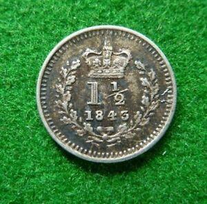 1843 VICTORIA SILVER THREEHALFPENCE - AVF