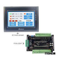 For Samkoon EA-043A 4.3-Inch HMI 480*272 + FX3U-32MT PLC Board 8-Way 100K Pulse