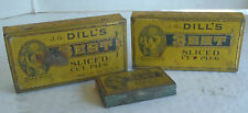 3 Vintage Dill's Best Sliced Cut Plug Tobacco tins
