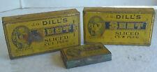 3 Vintage Dill's Best Sliced Cut Plug Tobacco tins