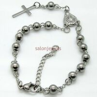 New Womens Mens Silver Stainless Steel Rosary Chain Cross Bracelet 6mm 8.66inch