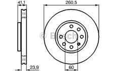 1x BOSCH Disco de freno delantero Ventilado 260mm 0 986 479 B46