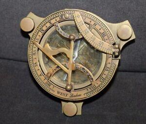 Vtg WEST LONDON Brass COMPASS Sundial
