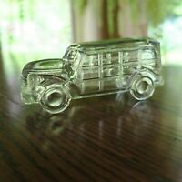 Woodie Station Wagon Glass Candy Container circa 1940's JH Millstein Glass Co