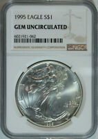 1995 American Silver Eagle Dollar $1 / .999 Pure / Certified NGC GEM BU 🇺🇸