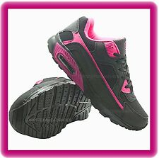 ladies NEW BLACK PINK AIR running gym casual sport jogging TRAINER SHOES  SIZE 7