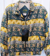 EAST WEST SILKS-Large-Blue Yellow Abstract Jacket-Fully Lined-Shoulder pads