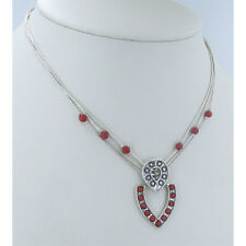 925 Liquid Sterling Silver Red Coral Door Knocker Necklace