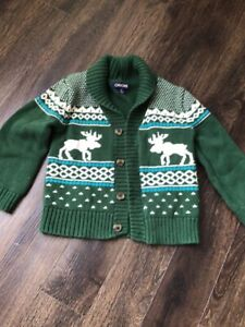 Cherokee Boys Sweater Cardigan Green Deer Button Up Chunky Size 4t