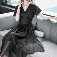 Ladies Temperament V-neck Waist Slim Fairy Chiffon Dress Short Sleeve New Muk15