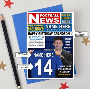 STEVEN GERRARD FUN CARD FOR RANGERS FOOTBALL FANS Personalised Birthday Card
