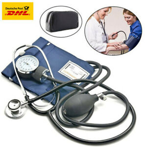 Oberarm Blutdruckmessgerät mit Stethoskop Doppelkopf Pumpball Manschette Set