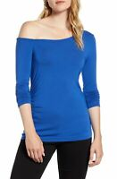 Halogen Women's Knit Top Blue Size Small S Off-Shoulder Ruched Stretch $45 #181