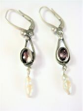 Earrings Silver 925 With Amethyst And Bead