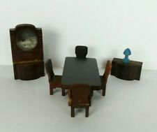 Vintage Nancy Forbes Dollhouse Furniture Dining Room Set Table Chairs Lamp 8 Pcs