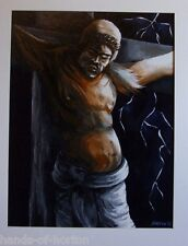CRUCIFIXION: Death of the Christ. Religious art.Acrylic painting. RARE!