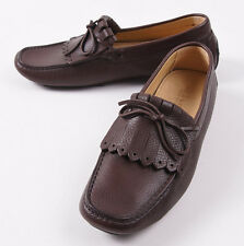 NIB $950 KITON Brown Calf Leather Kilt Driving Moccasins Loafers US 9 Shoes