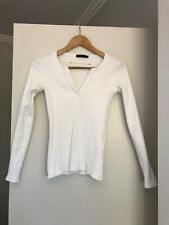 Bassike Fitted v-neck rib long sleeve t-shirt Size 0 White