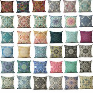Vintage Bohemia Pattern Pillow Case Cotton Linen Sofa Cushion Cover