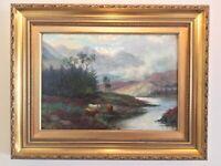 Antique vintage gilt frame signed original oil painting highland cattle Scottish