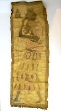 Antique Old African Woman Signed RHV Colored Hand Woven Tapestry Rug Burlap