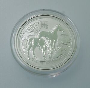 2014 SILVER AUSTRALIA  LUNAR 1/2 OZ YEAR OF THE HORSE PERTH MINT COIN IN CAPSULE