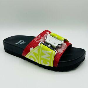 $375 MCM Men's Red/White Logo Visetos Slide Sandal With Buckle MEX9SMM29AV