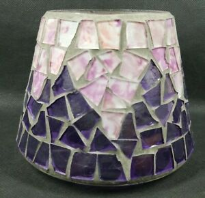 Mother of Pearl White Purple Pink Mosaic Tile Glass Lamp Shade Candle Topper